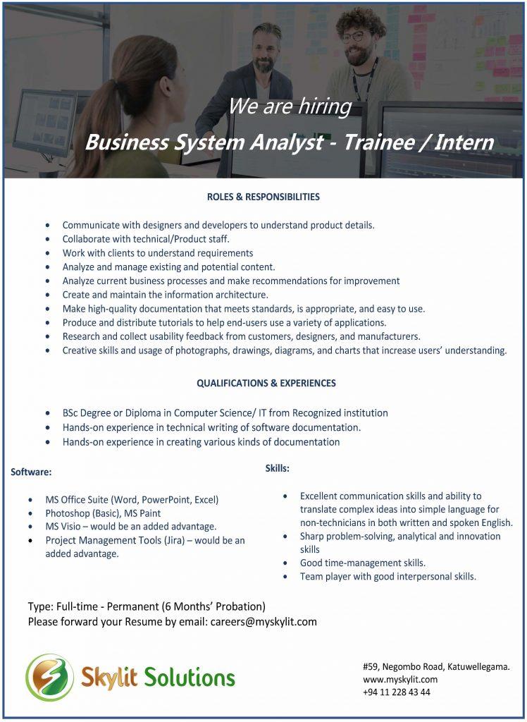 Business System Analyst - Trainee / Intern