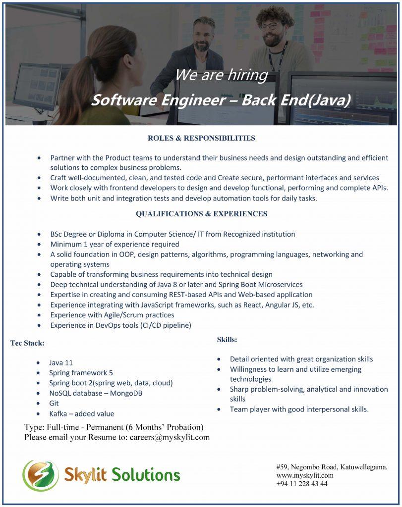 Software Engineer – Back End(Java)